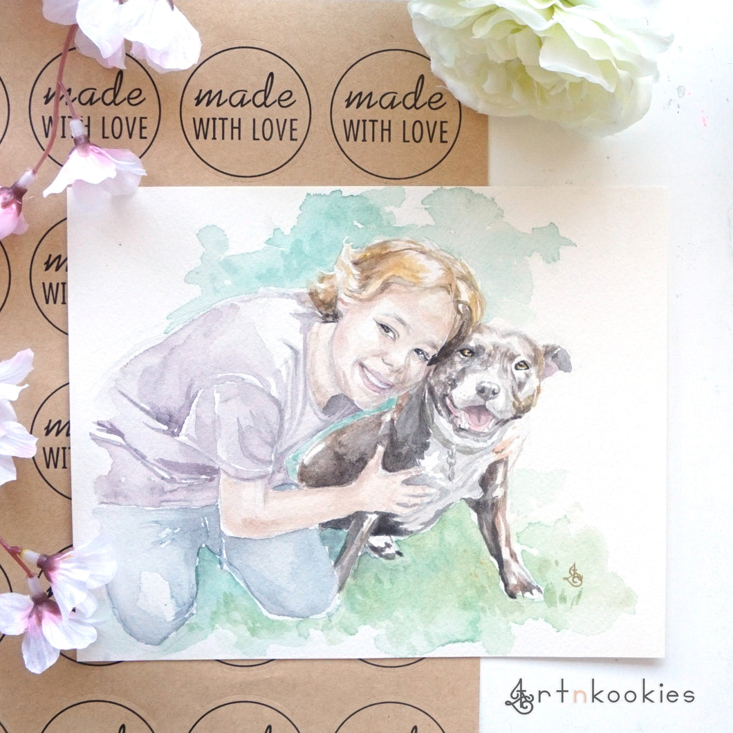 Custom Watercolour Family Portrait with Pet