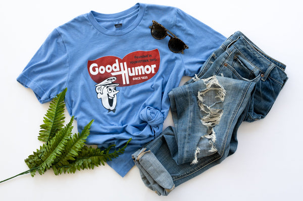 The Retro Man Good Humor Tee - Ice Cream - Officially Licensed - Heather Blue - Sweet Memories Vintage Tees
