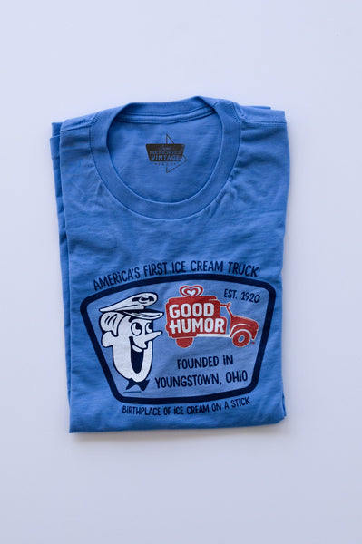 """The Novelty"" Good Humor Tee - Birthplace Youngstown Ohio - Officially Licensed - Heather Blue - Sweet Memories Vintage Tees"