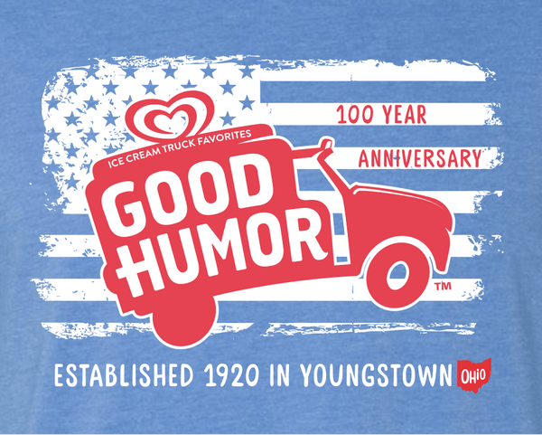 USA Ice Cream Truck Good Humor Tee - Youngstown Ohio - Officially Licensed - Heather Blue - Sweet Memories Vintage Tees