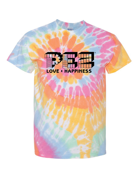 Love. Happiness. Hippie. Vintage PEZ® Candy | Tie-Dye Unisex T-Shirt