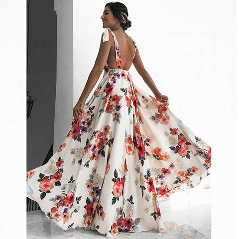 Woman Summer Boho Maxi Dress Sexy Backless Spaghetti Strap Floral