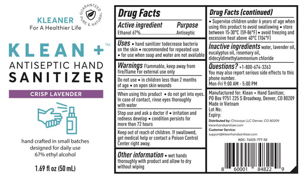 Klean + Hand Sanitizer Crisp Lavender 50ml (3Pack)