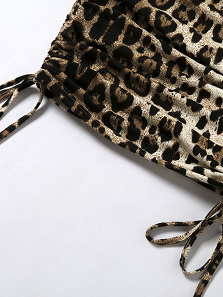 Leopard animal print pleated women dress Vintage drawstring sleeveless