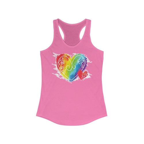 LGBT Rainbow heart Women's Ideal Racerback Tank Top Pride Day