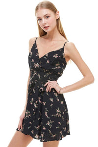 Floral Print Surplice Self Sash Skater Dress