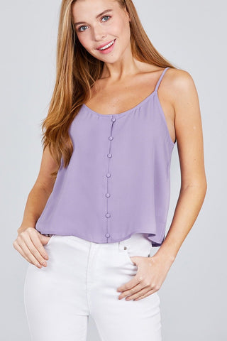 Lavender Cute Button Cami Loose Top