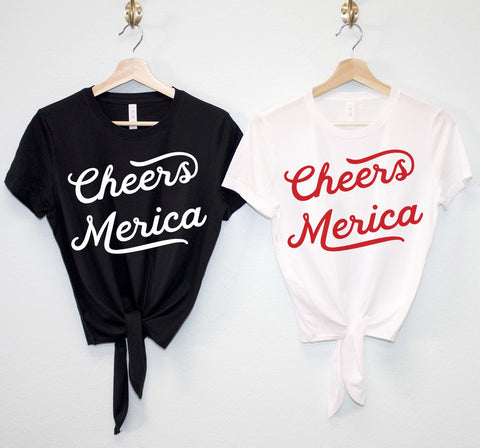 CHEERS MERICA Crop Top Shirt with front tie - Tresella