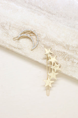 Stars and Moon Set of 2 Hair Barrettes in Gold