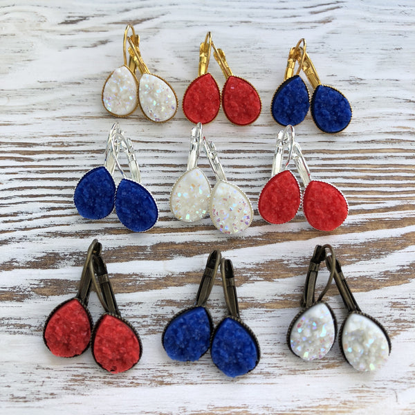 Patriotic 4th of July, Red, White + Blue Druzy Dangly Teardrop