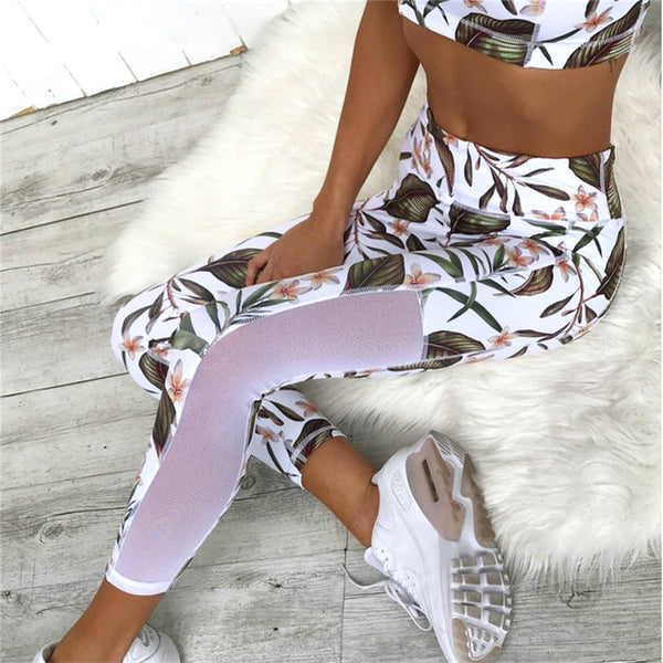 Leaf Printed Women Sports Suit