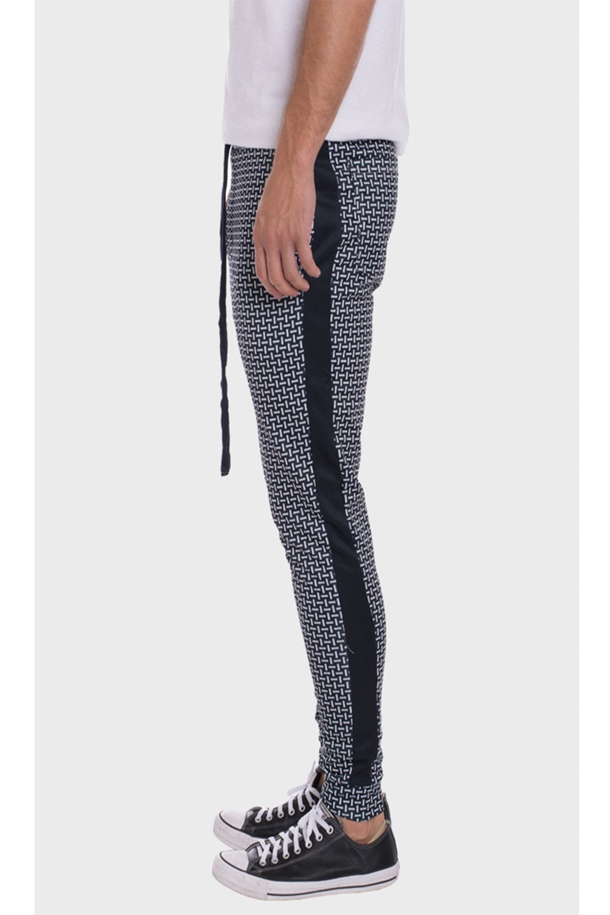 PATTERNED TRACK PANTS-NAVY