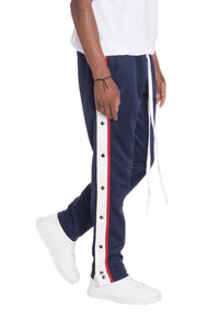 SNAP BUTTON TRACK PANTS- NAVY