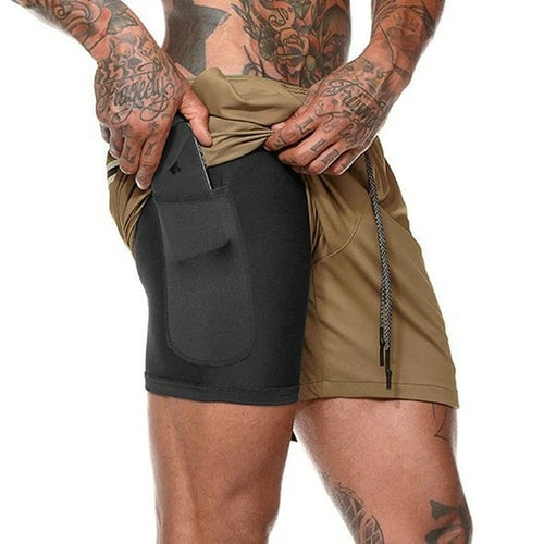 New Men 2 in 1 Camouflage Running Shorts Gym