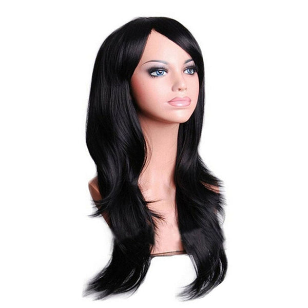 QQXCAIW Long Wavy Cosplay Wig Red Green Purple