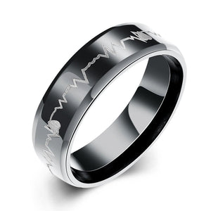 Father's Day Gift Heart Pulse 316L Stainless Steel Ring - Tresella