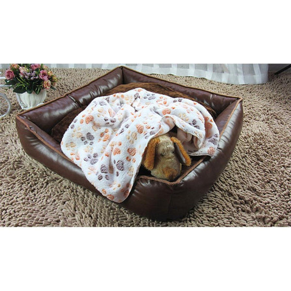 Winter warm pet cat dog Bed Blanket S/M/L Paws