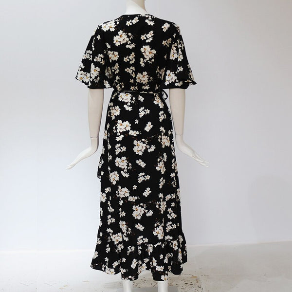 Women Boho Floral Print Chiffon Dress Sexy Summer