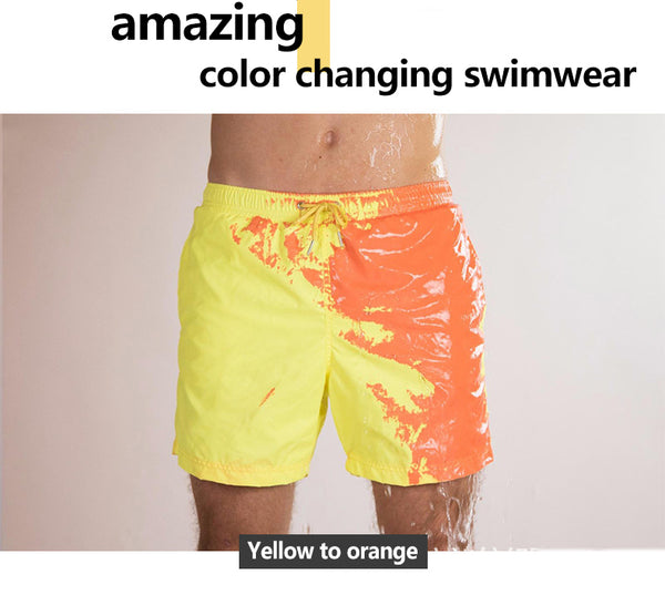 Summer Men Temperature Sensitive Color Changing  Beach Swim Pants