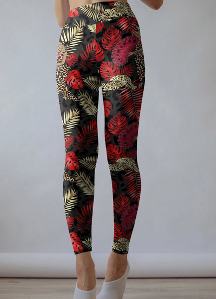 Red Palm Leaf leggings, Capris and Shorts