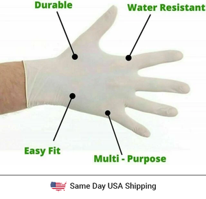 Disposable Latex Hand Gloves - 100PK - Same Day USA Shipping - Tresella