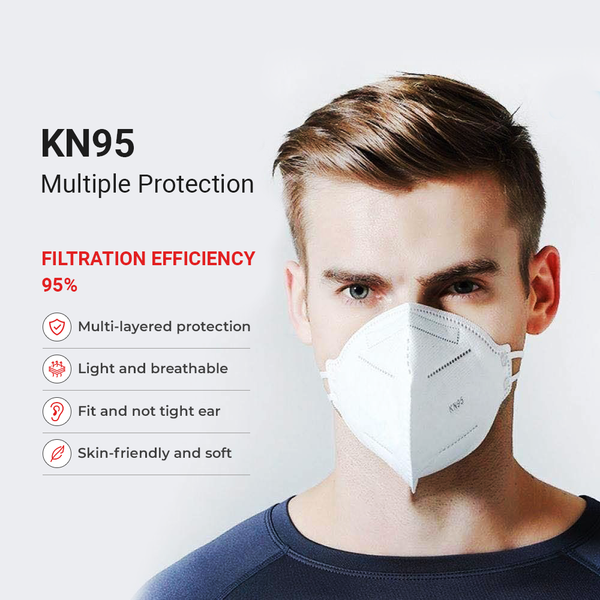 KN95 Protective Face Mask - White - Regular Size - 100PK - BEST VALUE