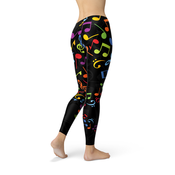 Womens Colorful Music Notes Leggings