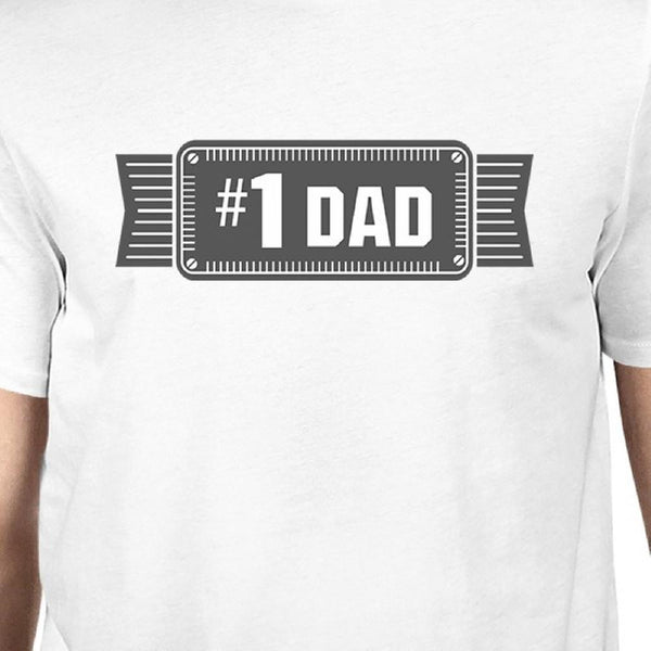#1 Dad Mens White Vintage Graphic T-Shirt Fathers - Tresella