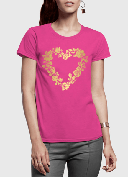 Flower Heart Half Sleeves Women T-shirt