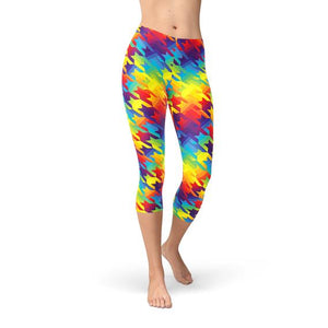 Womens Rainbow Houndstooth Capri Leggings
