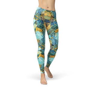 Womens Hexagon Floral Leggings