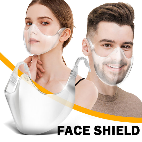 Reusable Plastic Transparent Face Mask Combined with Bandage