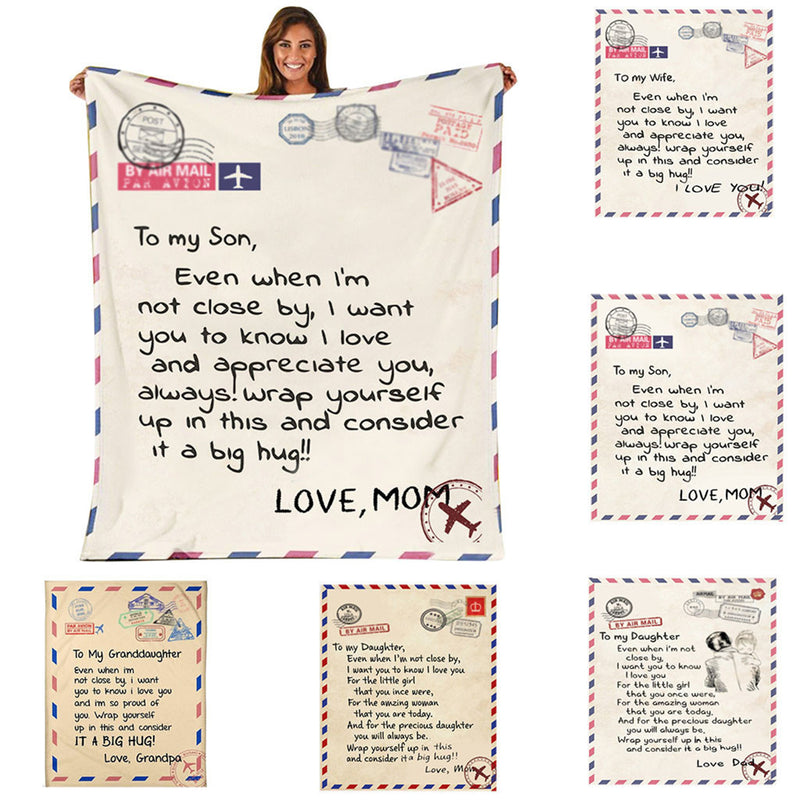 Letter Blanket To Daughter or Son Flannel Giving Encouragement and Love