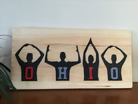 OHIO football sign on natural pine wood