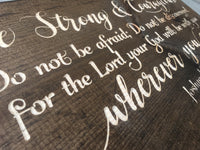 Joshua 1:9 Be Strong and Courageous Bible Verse Wood Sign Wall Decor Art