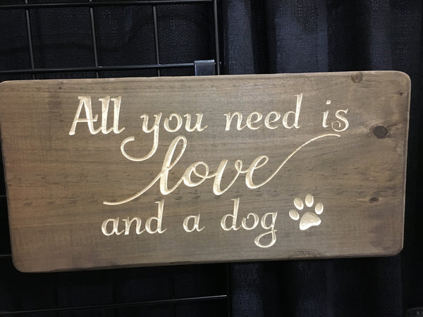 Love and a dog with a paw print Wood Sign Wall Decor Art
