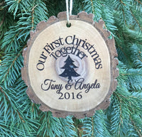 Personalized Wedding Ornament First Christmas Together, Custom Engraved Wood Slice Rustic Family Name Couple Gift Personalized Wood Ornament