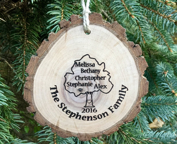 Personalized Ornament Family Tree custom engraved wood slice Christmas Gift Grandparents Grandma/Grandpa Grandmother