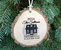 Personalized Christmas Ornament  first Christmas in our new home couple gift decor engraved Wood Slice