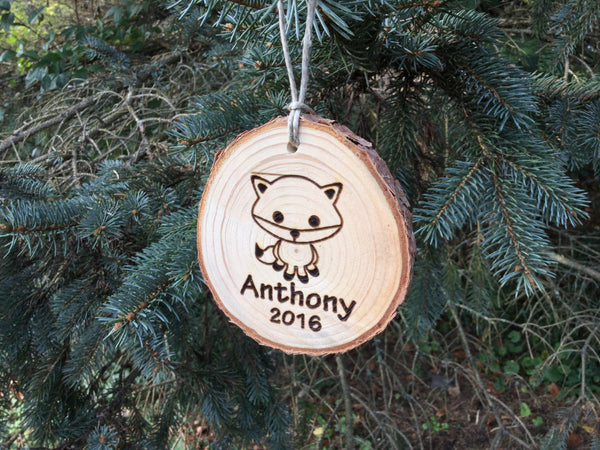 Personalized Kids Christmas Ornament Cute Baby Fox Custom Engraved Wood Slice Country Rustic Pine Woodland Tree Decorations for Boys Girls