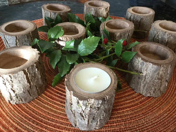 10 Rustic Wood candle holders, Country Wedding Candles, Reception Table Centerpieces, Walnut Log Tealight Holder Set for Country Decor