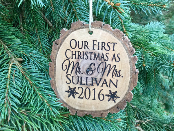 Personalized Wood Ornament, First Christmas as Mr and Mrs Wood Slice Ornament, Rustic Gift Wedding Ornament for Christmas Bride and Groom