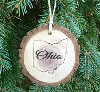 Ohio Christmas Ornament Gift engraved Walnut Wood Slice State Shape Home Ohio Rustic Handmade Decor