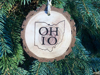 Ohio Christmas Ornament Gift engraved Walnut Wood Slice O-H-I-O State Shape Home Ohio Rustic Handmade Decor