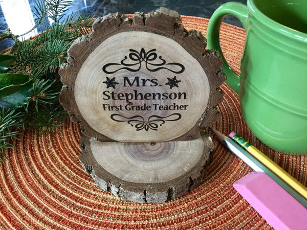 Custom Teacher Gift Personalized Desk Plaque Rustic Wood Slice Teacher Appreciation Christmas Gift for Teachers