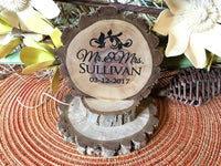 Rustic Country Wedding Cake Topper Custom Personalized Wood Slice laser engraved outdoor tree theme cake topper