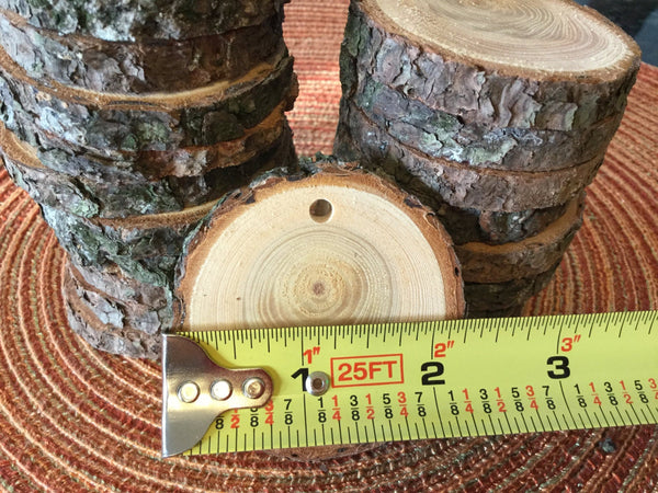 Qty 10- 2.25inch Rustic Wood Slices with Hole for Pendant Necklace, Ornament, Wood Jewelry. Unfinished Pine with Bark Natural Wood Slice