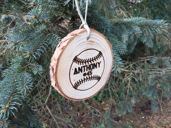 Personalized Kids Christmas Ornament Baseball Softball Sports Custom Engraved Wood Slice Country Rustic Pine Tree Decorations Boys Girls