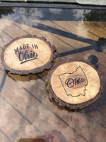 Ohio Magnet, Wood Fridge Magnet, Choose One Made in Ohio Wood Slice Natural Bark Live Edge Wood Decor Rustic State Laser Engraved Magnet