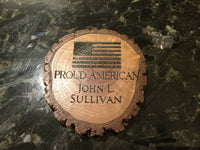 4 Custom Personalized Coaster Set American Flag Patriotic Military Veteran Dad Gift